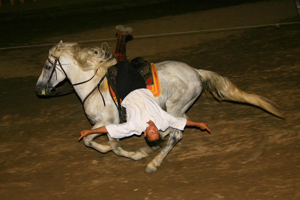 Acrobatiek op echte Kozakken paarden